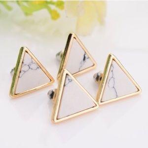➕Minimalist Gold Marble Triangle Earrings➕